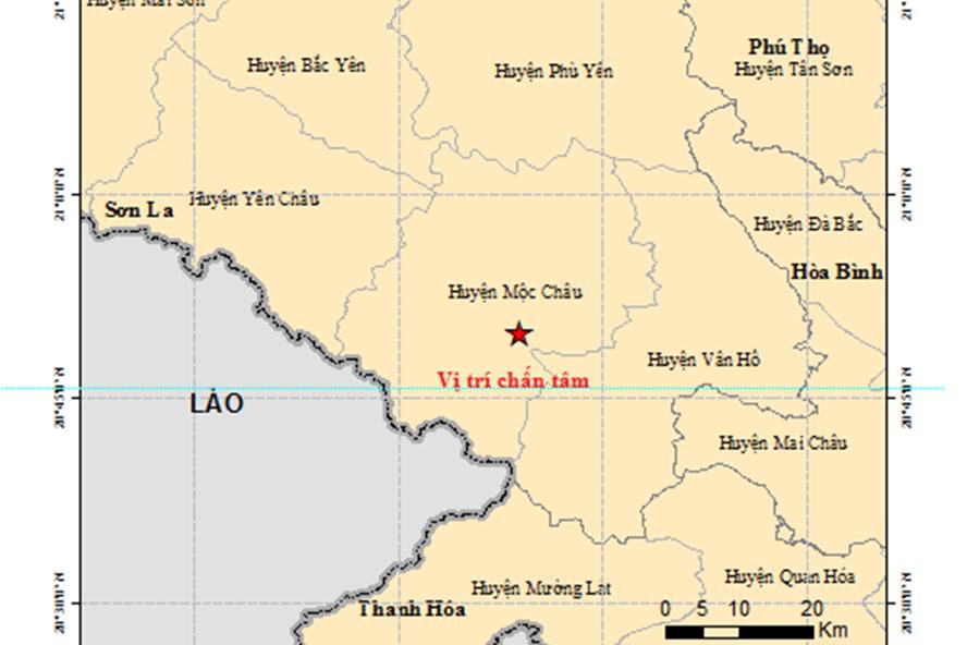 Vị trí chấn tâm của trận động đất trưa 27.7 tại huyện Mộc Châu (Sơn La). Nguồn: Việt Vật lý địa cầu.