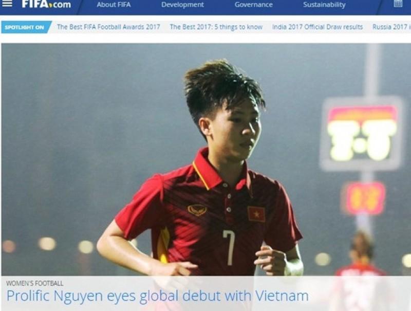Nguyễn Tuyết Dung nổi bật trên trang chủ của FIFA