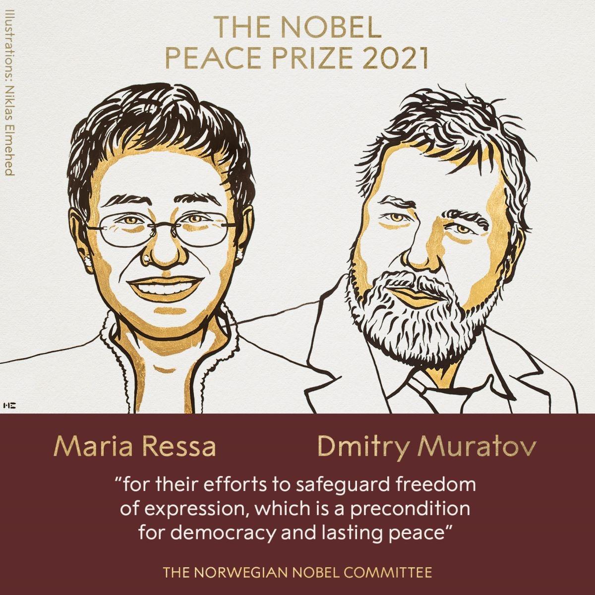 Hai đồng chủ nhân Giải Nobel Hòa bình năm 2021. Ảnh: nobelprize.org