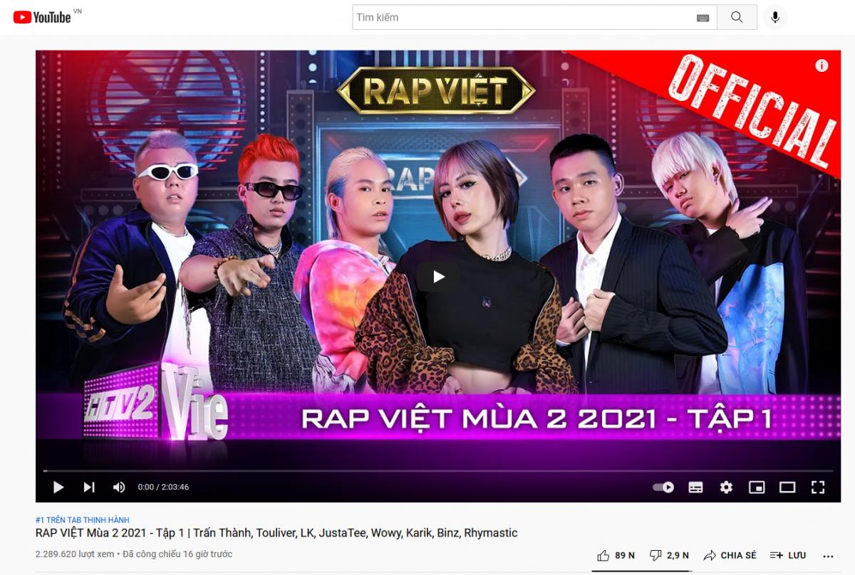 Rap Việt - mùa 2 lập thành tích khủng, dẫn đầu top thịnh hành Youtube Việt Nam