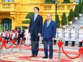 Hình ảnh lễ đón Thủ tướng Canada Justin Trudeau thăm Việt Nam