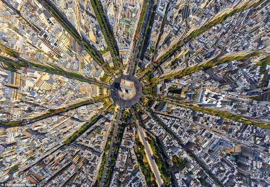 The Arc de Triomphe in Paris: The famous French landmark is instantly recognisable in this beautiful aerial photo