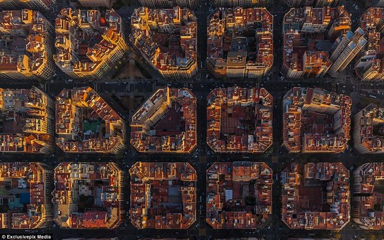 Barcelona: The Spanish citys unique skyline is captured in this spellbinding aerial photogrpaph