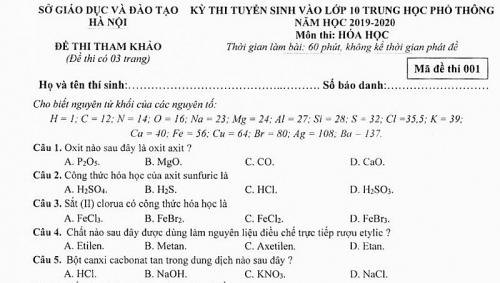 Hà Nội công bố đề thi tham khảo kỳ thi tuyển sinh vào lớp 10 THPT