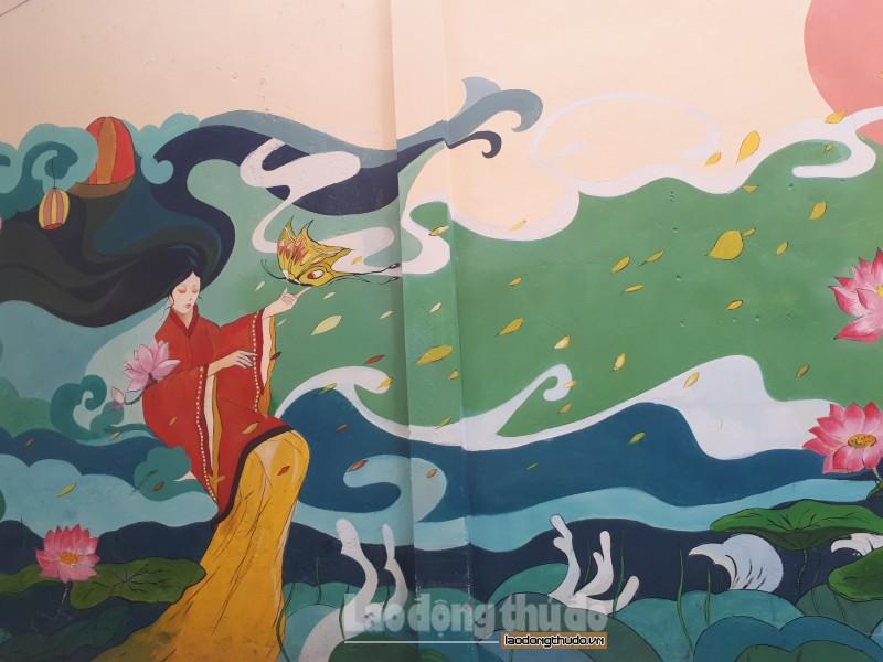 Con đường bích họa đẹp như mơ về làng hoa Ngọc Hà