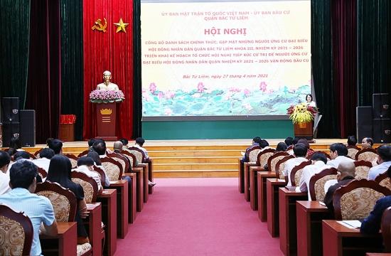 Quận Bắc Từ Liêm công bố danh sách 58 người ứng cử đại biểu Hội đồng nhân dân