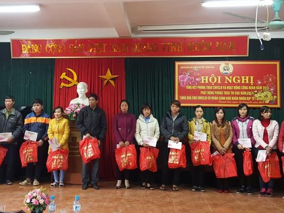 LĐLĐ huyện Thanh Oai: Hơn 90 triệu đồng chăm lo Tết cho CNVCLĐ