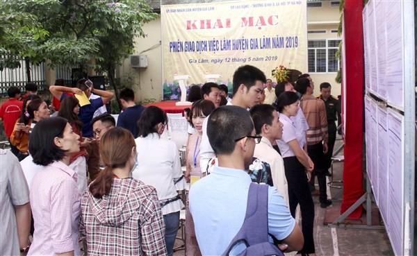 Phiên giao dịch việc làm huyện Gia Lâm năm 2019: 247 người được tuyển dụng