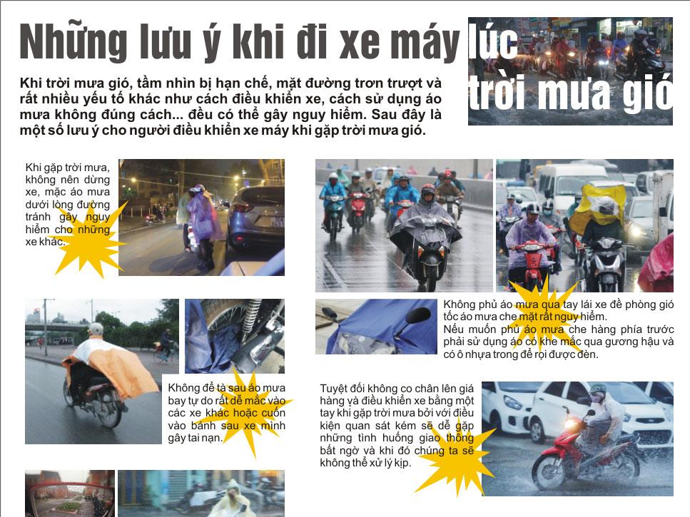Infographic: Những lưu ý khi đi xe máy lúc trời mưa gió