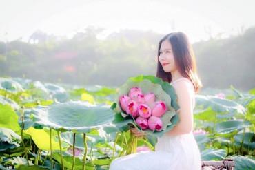 Ngắm thiếu nữ Hà thành duyên dáng bên sắc sen hồng