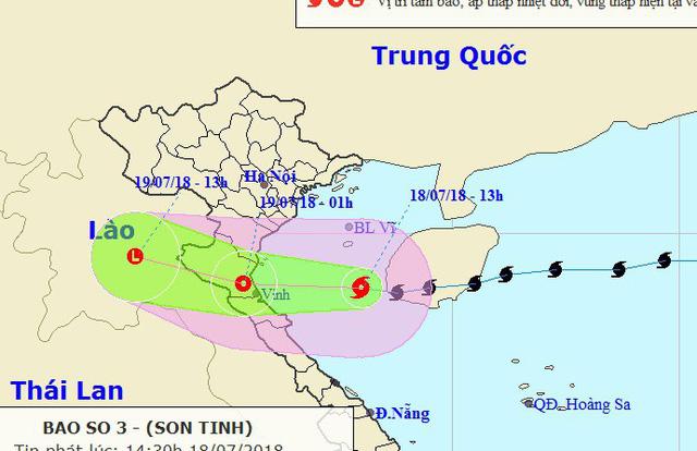 Bão số 3 vào Vịnh Bắc Bộ, đang hướng vào Thái Bình - Quảng Bình