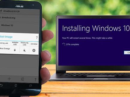Cài đặt Windows 10 cho máy tính bằng... smartphone Android