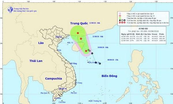 Vùng áp thấp mạnh lên thành áp thấp nhiệt đới, cả nước có mưa dông