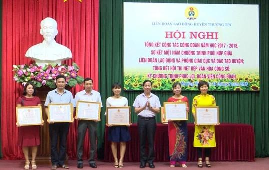 LĐLĐ huyện Thường Tín: Tổng kết công tác công đoàn năm học 2017-2018