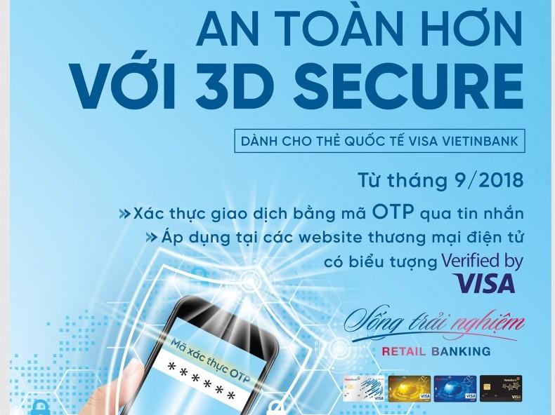 VietinBank bảo mật tối ưu thẻ Visa bằng chức năng 3D Secure