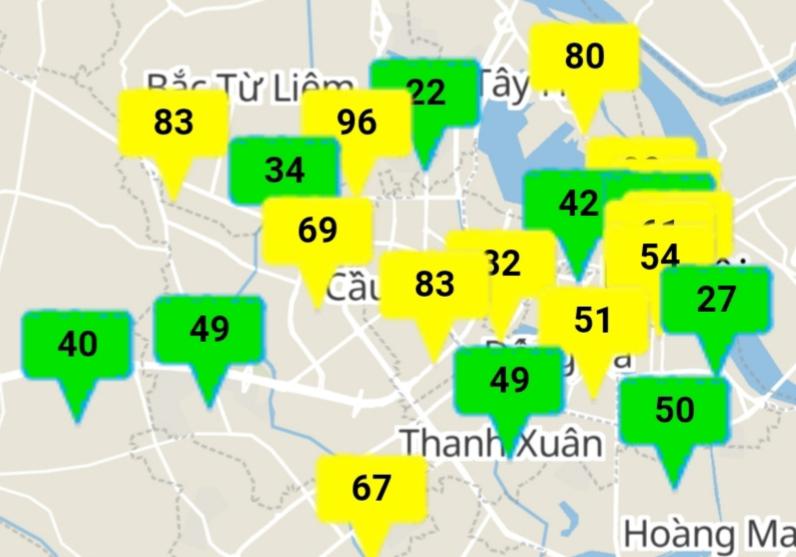 Chất lượng không khí ở Hà Nội cải thiện, nhiều khu vực ở mức tốt