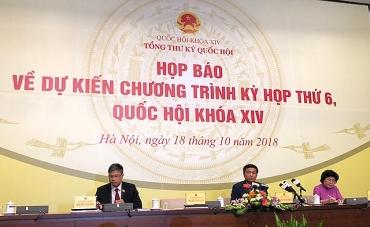 Kỳ họp thứ 6 Quốc hội khóa XIV: Sẽ bầu Chủ tịch nước và thông qua 9 dự án luật