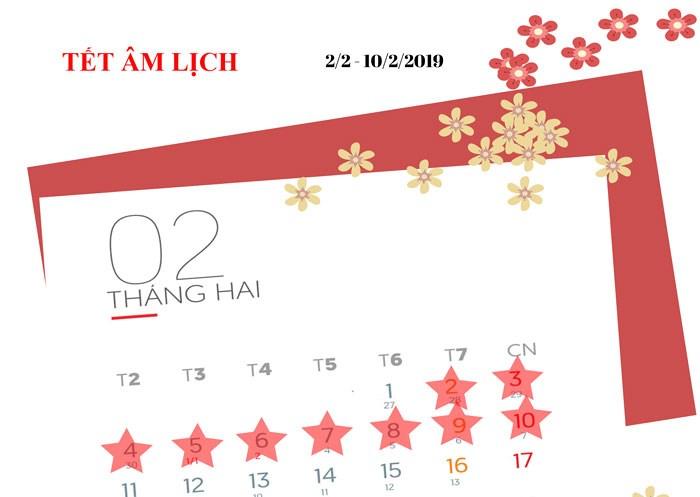 Infographic: Lịch nghỉ các ngày lễ, tết năm 2019