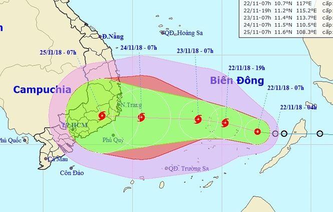 Áp thấp nhiệt đới đã mạnh lên thành bão số 9, đe dọa Nam Trung Bộ