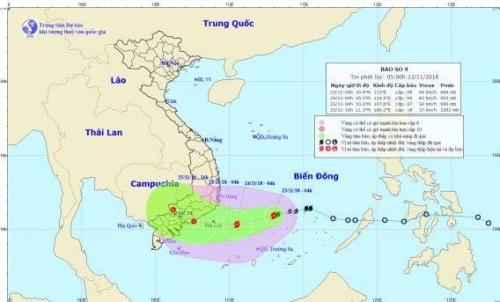 Cơn bão số 9 có khả năng mạnh thêm, gió giật lên đến cấp 12
