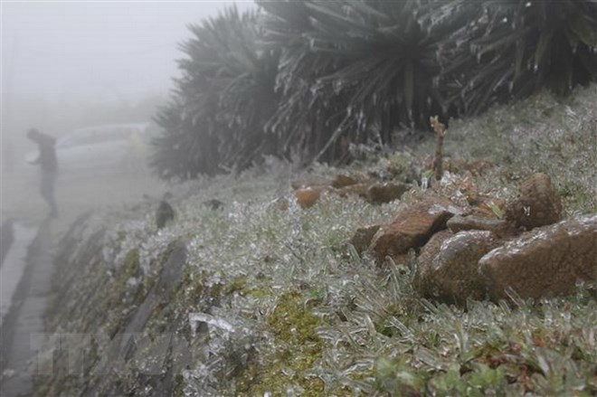 Lạng Sơn: Nhiệt độ xuống mức âm, Mẫu Sơn xuất hiện băng giá