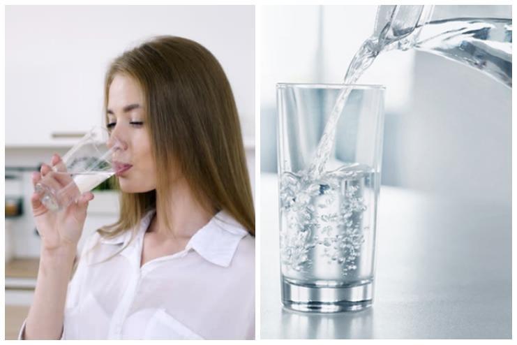 Uống nhiều nước là một trong những biện pháp hữu hiệu để dưỡng ẩm cho da. Ảnh đồ họa: MV