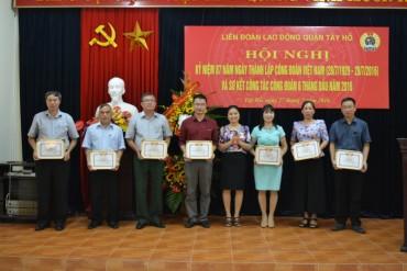 LĐLĐ quận Tây Hồ: Tôn vinh 33 cán bộ công đoàn tiêu biểu