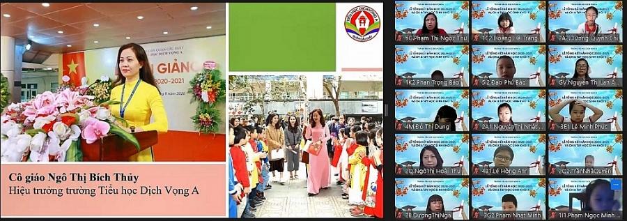 Do diễn biến dịch bệnh Covid - 19 phức tạp, Trường Tiểu học Dịch Vọng A (Cầu Giấy, Hà Nội) đã tổ chức Lễ tổng kết năm học 2020 - 2021 theo hình thức trực tuyến.