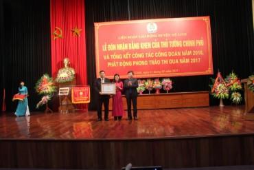 LĐLĐ huyện Mê Linh đón nhận Bằng khen của Thủ tướng Chính phủ