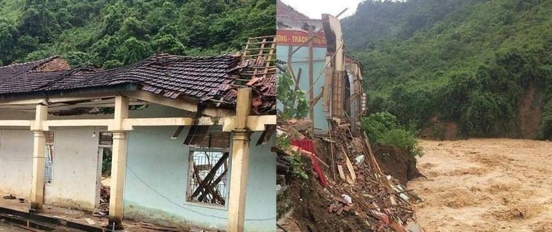Nghệ An:  Nước lũ đánh sập ký túc xá một trường học