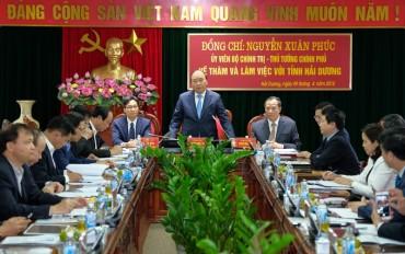 Thủ tướng làm việc với lãnh đạo chủ chốt tỉnh Hải Dương