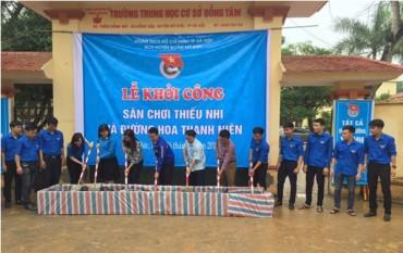 Xây dựng con đường hoa thanh niên tại Trường THCS xã Đồng Tâm