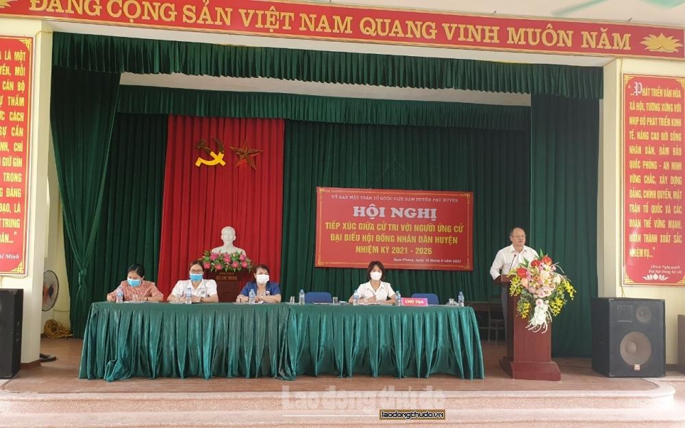 Ứng cử viên đại biểu Hội đồng nhân dân huyện Phú Xuyên tiếp xúc cử tri