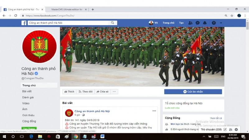 cong an tp ha noi tiep nhan thong tin cua nguoi dan qua facebook