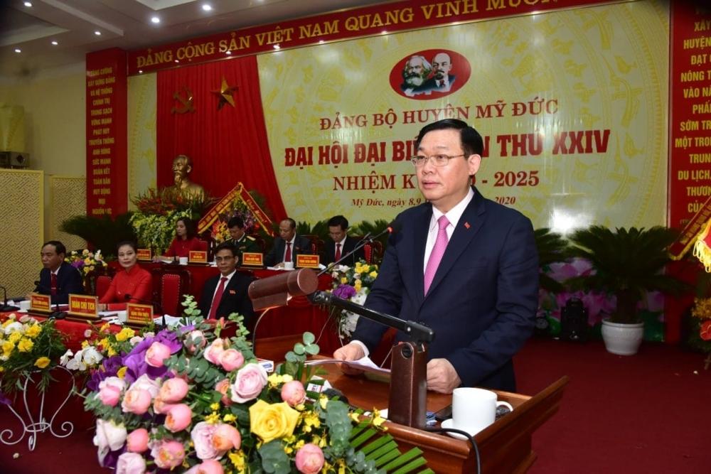 """Bí thư Thành ủy Hà Nội Vương Đình Huệ: Huyện Mỹ Đức thực hiện """"mục tiêu kép"""" hiệu quả"""