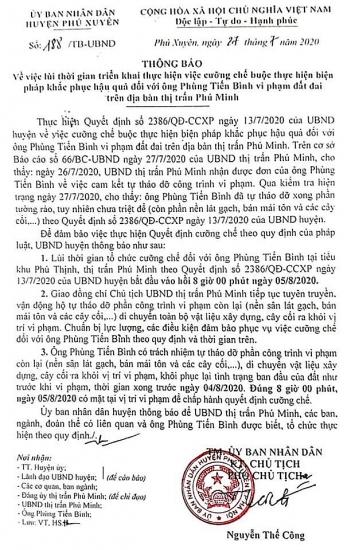Lùi thời gian cưỡng chế vi phạm trong lĩnh vực đất đai tại thị trấn Phú Minh, Phú Xuyên
