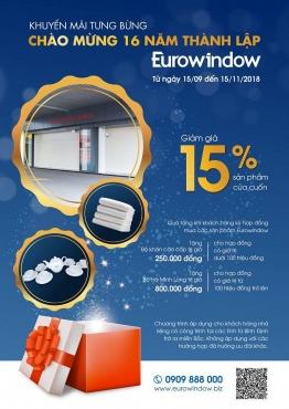 Eurowindow khuyến mại khủng nhân dịp kỷ niệm 16 năm thành lập