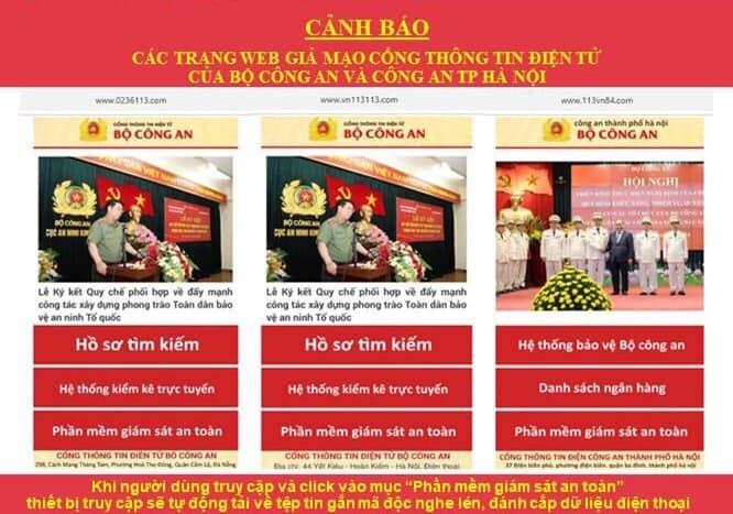 canh bao trang web gia mao luc luong cong an