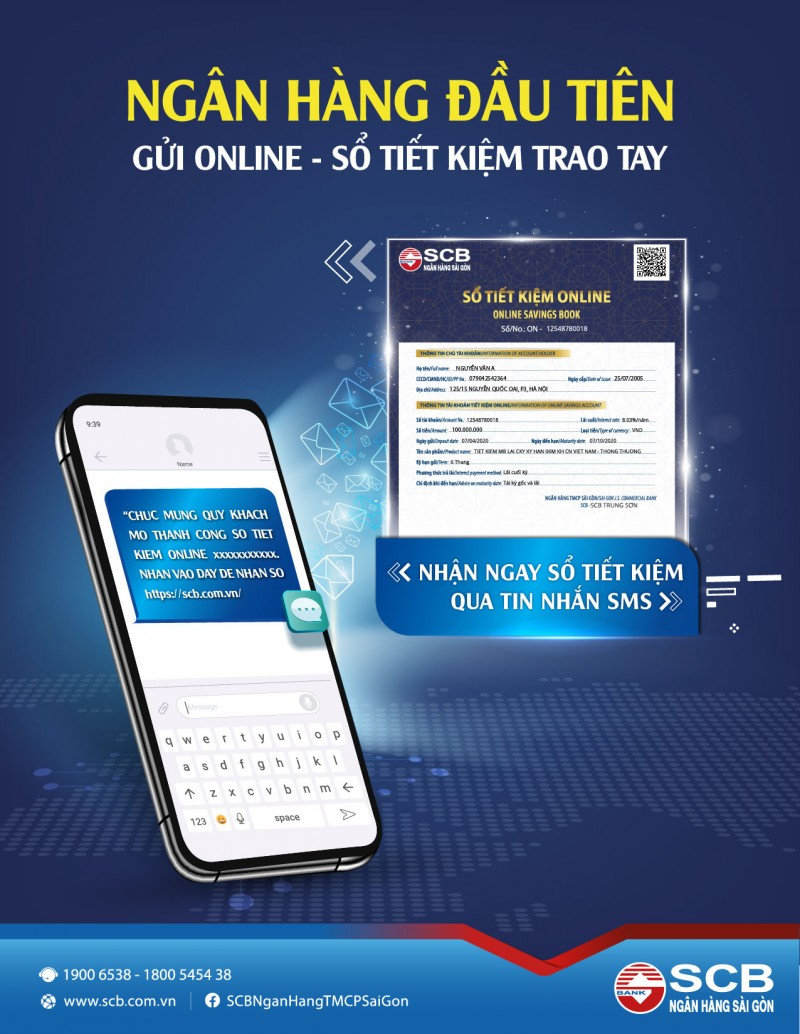 Ngân hàng đầu tiên triển khai tính năng gửi sổ tiết kiệm online qua SMS
