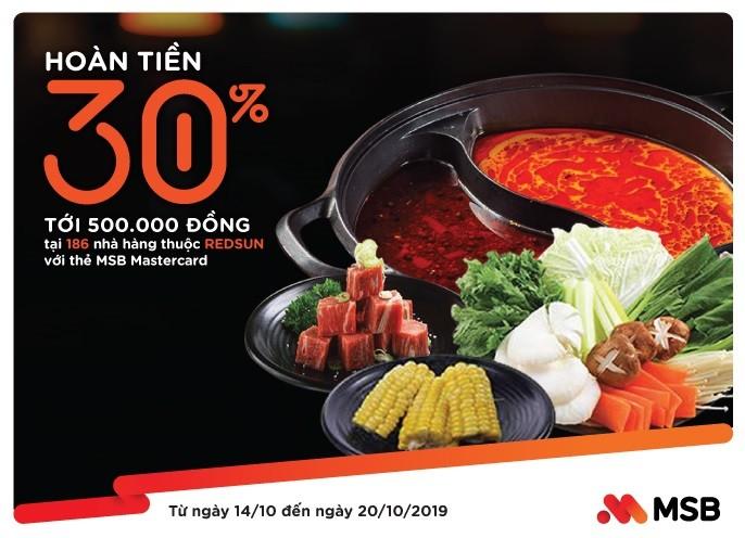 Thưởng thức ẩm thực châu Á  và nhận ưu đãi 30% với thẻ MSB Mastercard