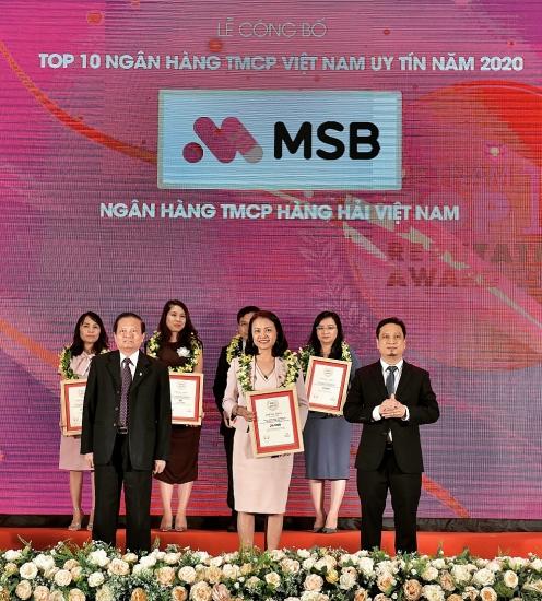 MSB vào top 10 ngân hàng thương mại cổ phần tư nhân uy tín nhất Việt Nam