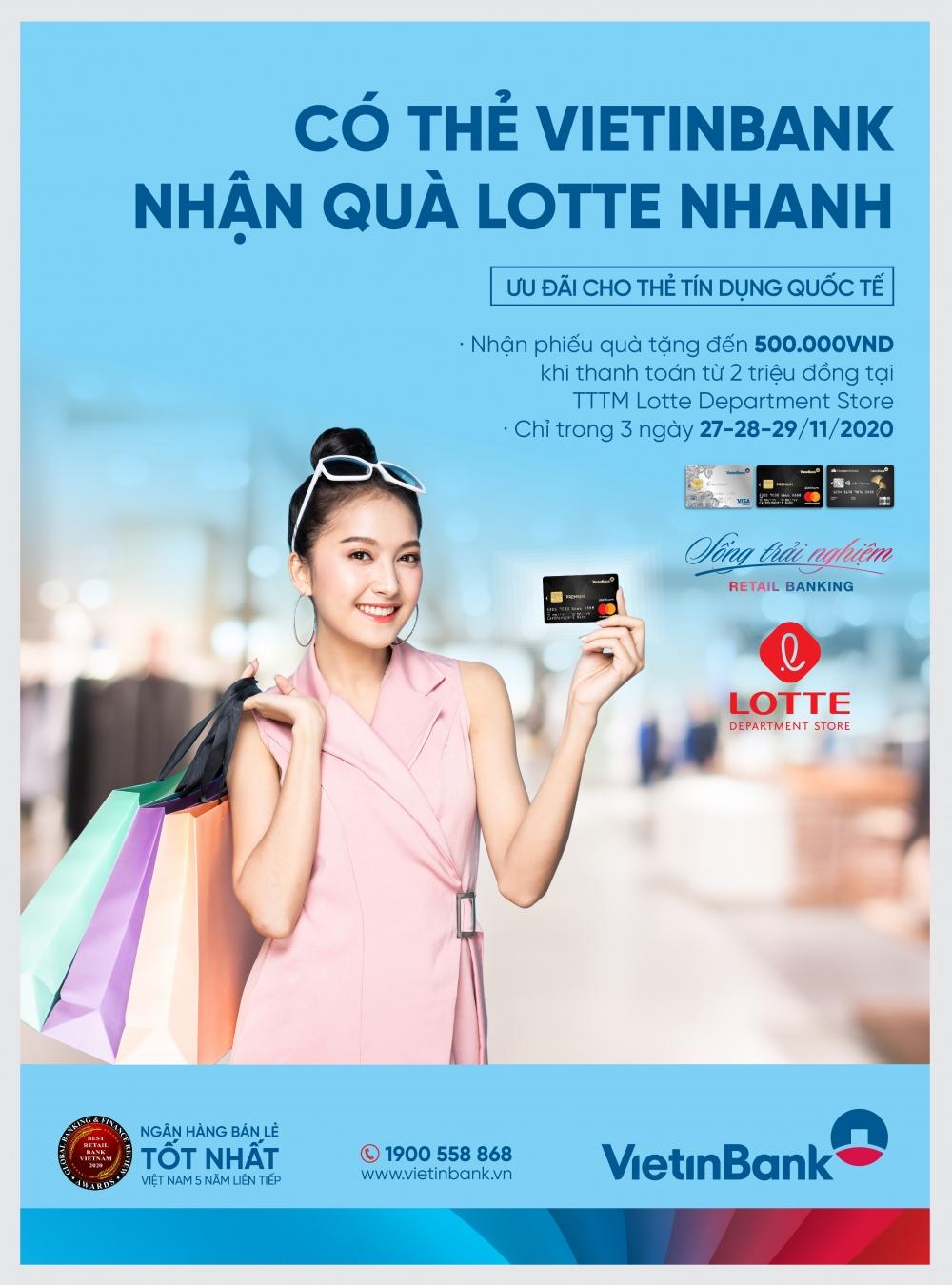 Nhận phiếu quà tặng đến 500.000đ khi mua sắm tại Lotte Department store