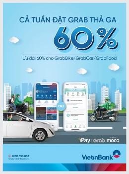 Tặng mã iPay Grab lên đến 280.000 đồng cho khách hàng sử dụng VietinBank iPay Mobile