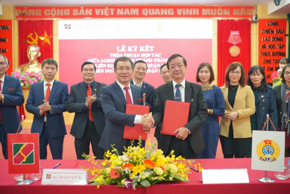 Liên đoàn Lao động quận Đống Đa, Ba Đình và Agribank Chi nhánh Thăng Long ký kết thoả thuận hợp tác
