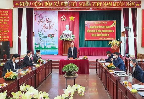 Chủ tịch Hội đồng nhân dân Thành phố Nguyễn Ngọc Tuấn kiểm tra công tác phòng, chống dịch Covid-19 tại huyện Thường Tín