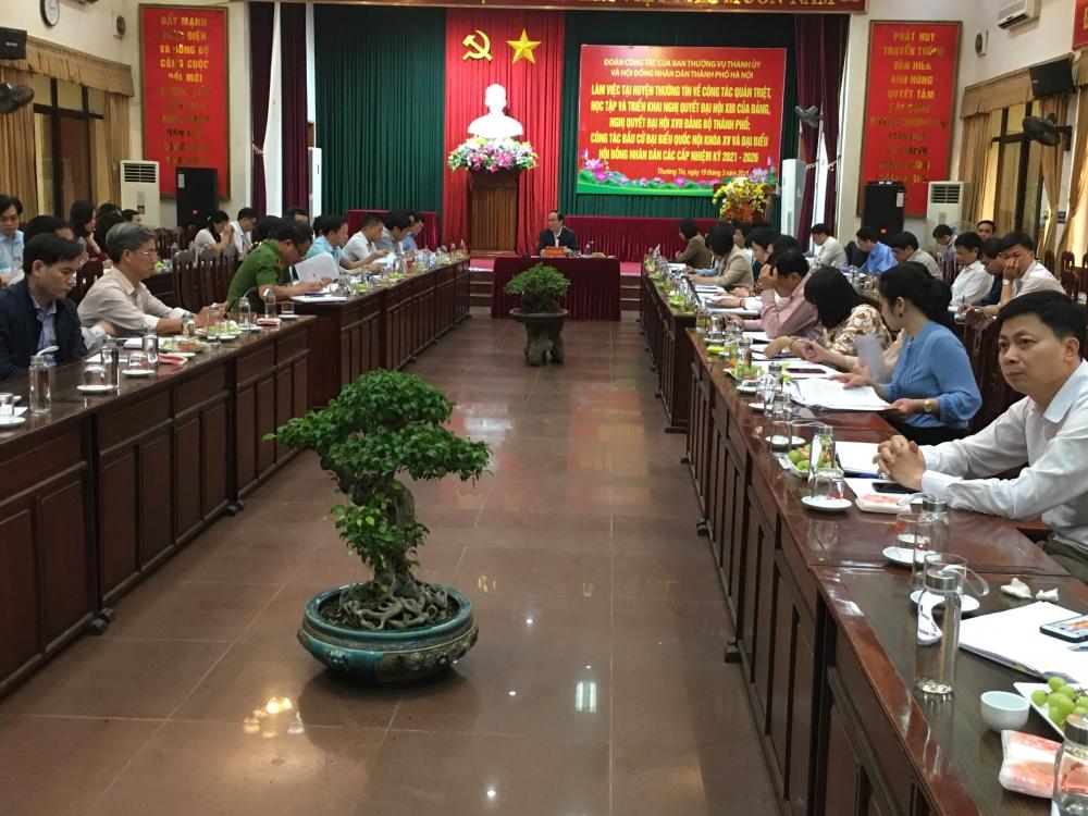 Chủ tịch Hội đồng nhân dân Thành phố kiểm tra việc triển khai nghị quyết của Đảng và công tác bầu cử tại huyện Thường Tín