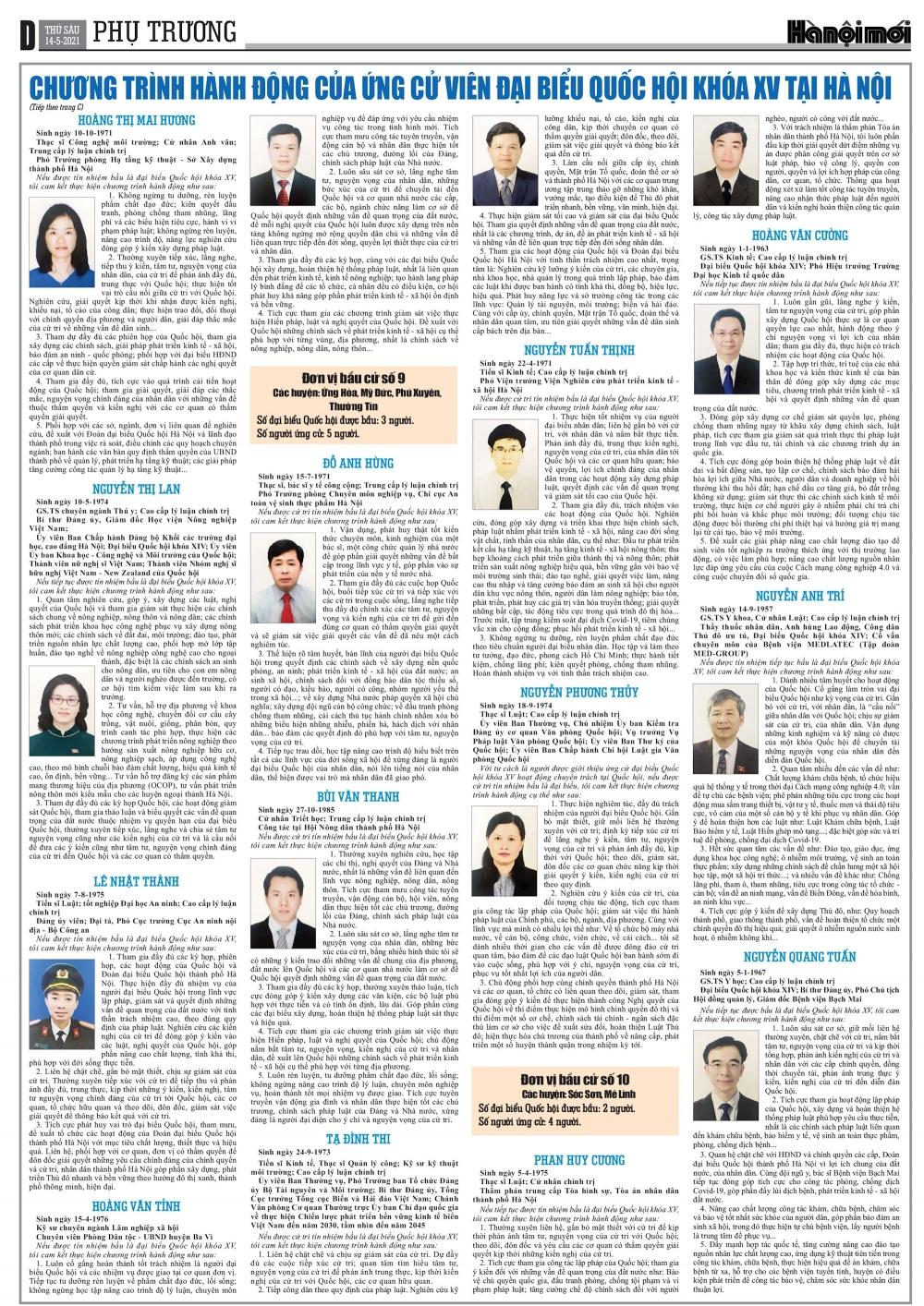 Chương trình hành động của các ứng cử viên đại biểu Quốc hội khóa XV tại Hà Nội