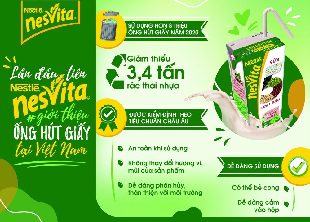 Sữa Nesvita 5 loại Đậu tiên phong sử dụng ống hút giấy bảo vệ môi trường