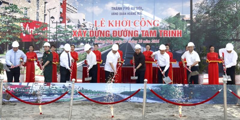 Khởi công dự án xây dựng, mở rộng đường Tam Trinh, quận Hoàng Mai