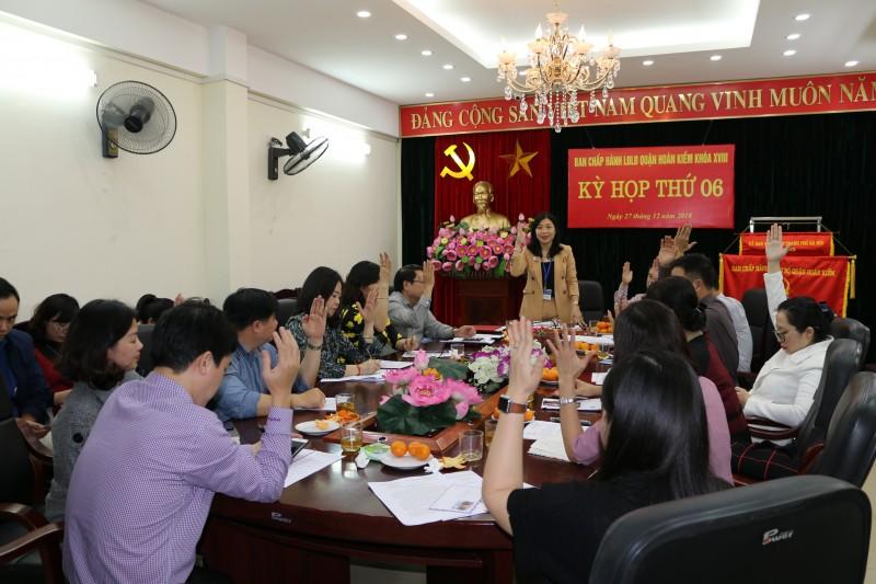Kỳ họp thứ 6 Ban chấp hành LĐLĐ quận Hoàn Kiếm